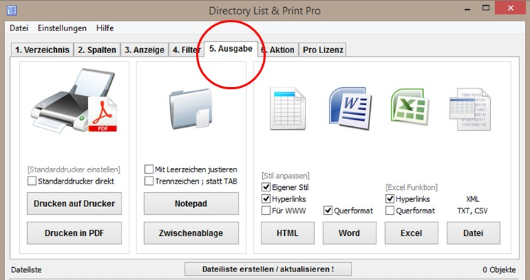 Dateilisten ausgeben, drucken und exportieren