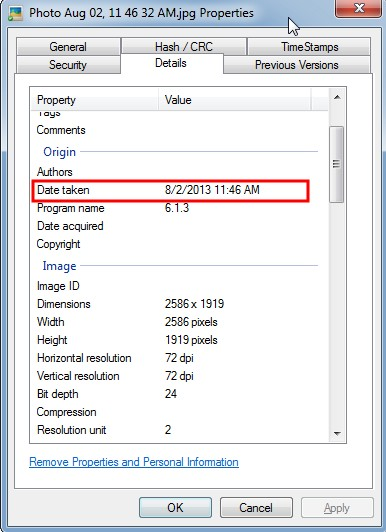 how to change the file creation date