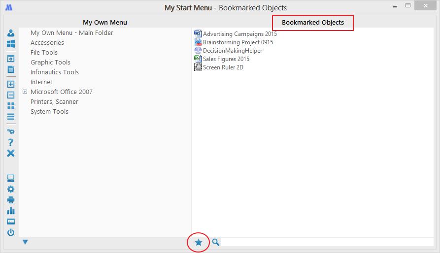 Bookmarks in My Start Menu for Windows